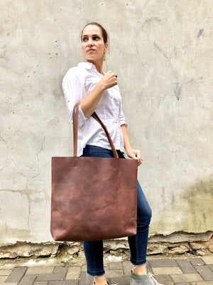 Oversize Leather Tote / Tall Leather Bag Brown