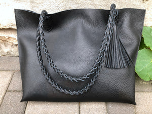 Black leather tote Office School leather bag