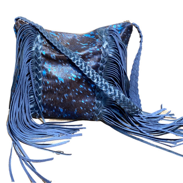 Boho fringe leather bag, metallic blue
