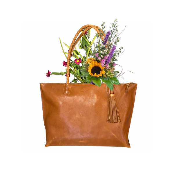 Veg tan leather tote with tassel