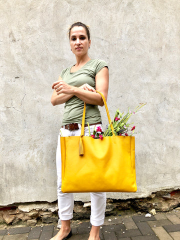 Yellow leather tote / Large Leather Shopper Bag