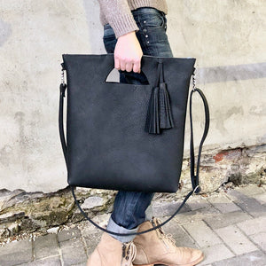 Black crossbody leather tote, Unique cut out hanldes
