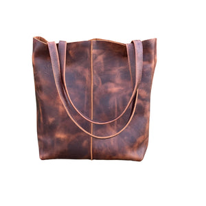 Tall Brown Leather Tote with middle stitch