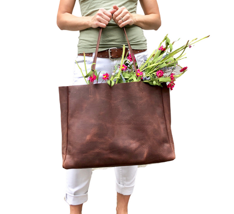 Brown leather tote / Large Leather Shopper Bag