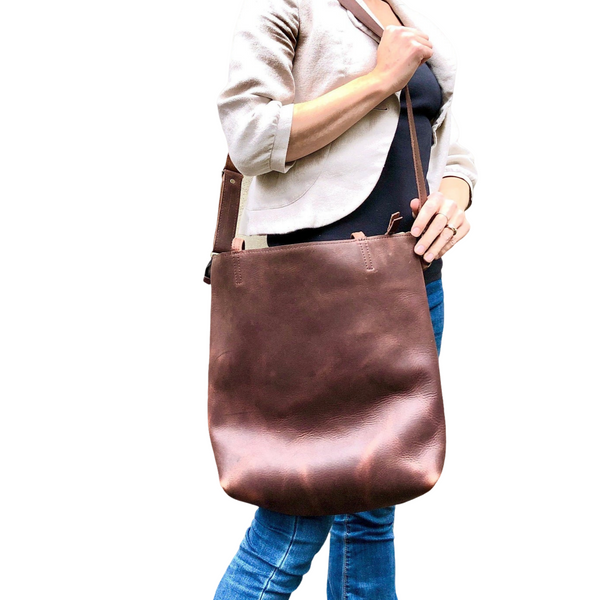 Tall Brown Leather Crossbody Tote, Work travel leather bag