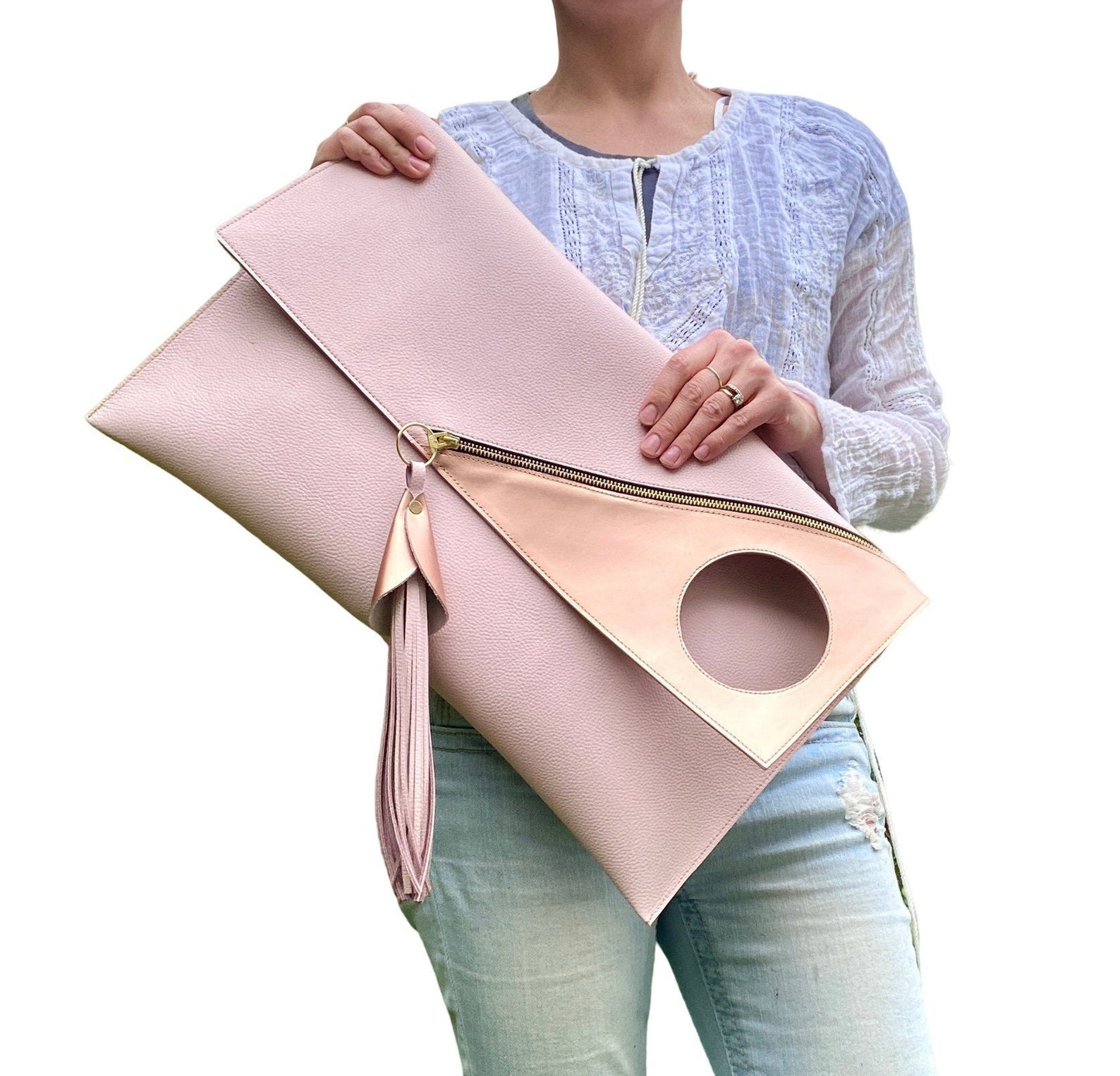 Oversized gold clutch , Evening fold over bag