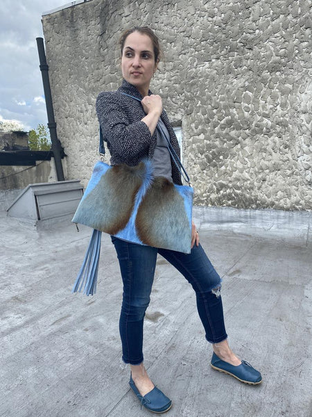 Oversized clutch , Blue springbok leather fold over bag