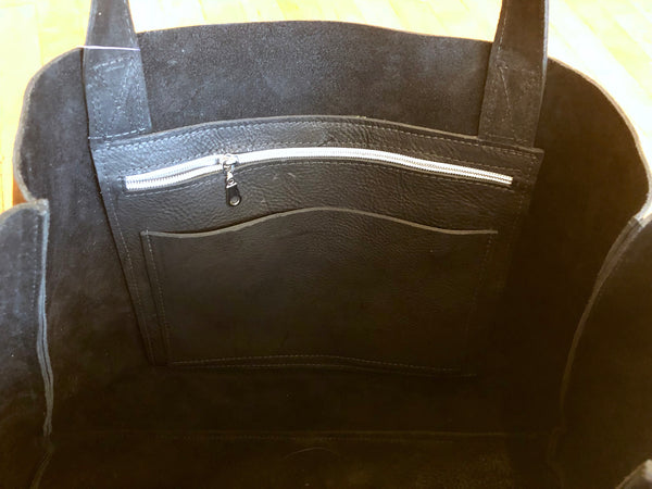 Black leather tote bag, Oversized work and travel computer bag