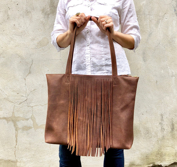 Leather tote with fringe, Sturdy Shopper, Travel bag