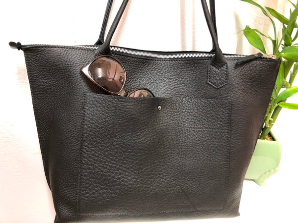 Leather tote bag with zipper, Everyday leather tote