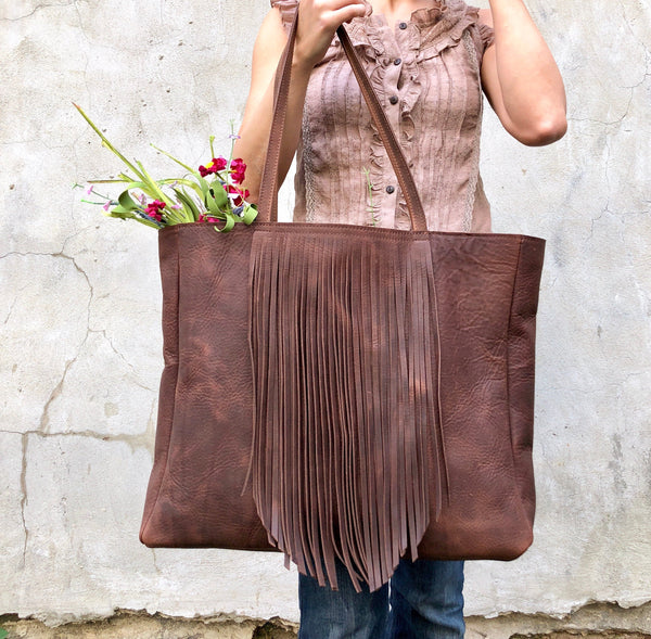 Extra Large Leather bag with fringe,  Oversized work and travel  leather bag