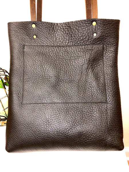Tall Leather tote bag  Travel leather bag Leather Shopper bag