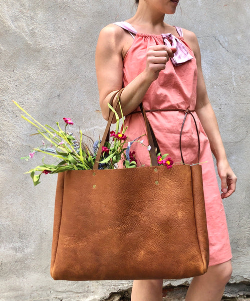 Premium veg tanned italian leather bag, Caramel brown