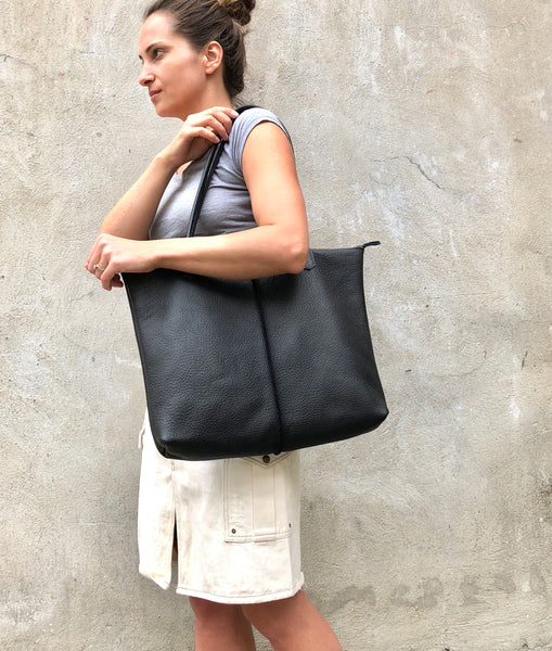Leather tote, Handmade computer bag