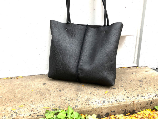 Large Black Leather Tote, Work and travel leather bag, Crossbody bag