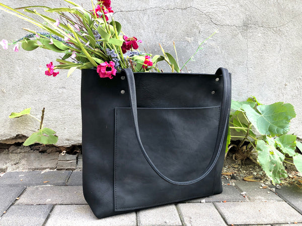 Large Black Leather Tote with front pocket , Work and travel leather bag