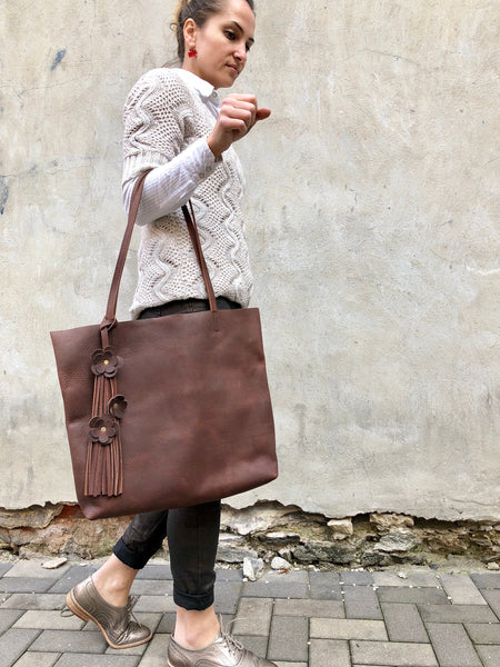 Brown leather tote bag, Work and travel leather bag, Leather Compur bag with Zipper
