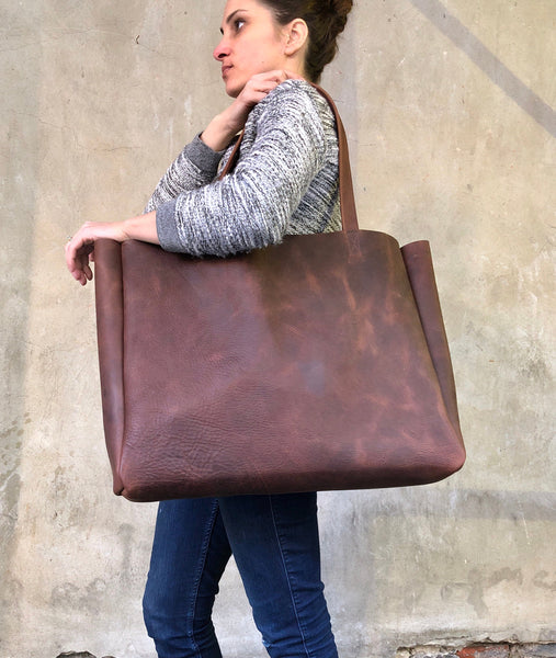 "Extra large brown leather tote bag 24""x 15"""