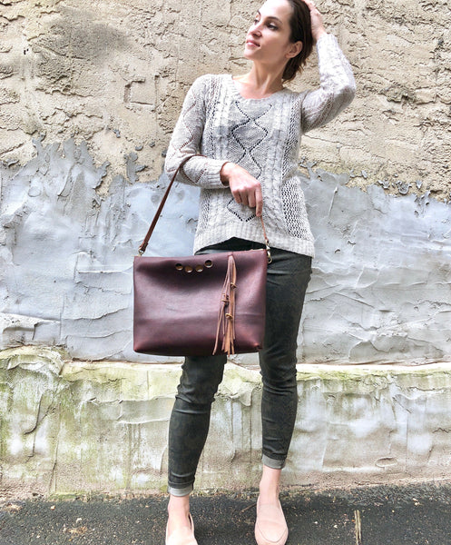 Blown leather clutch with tassel, Brown leather shoulder bag