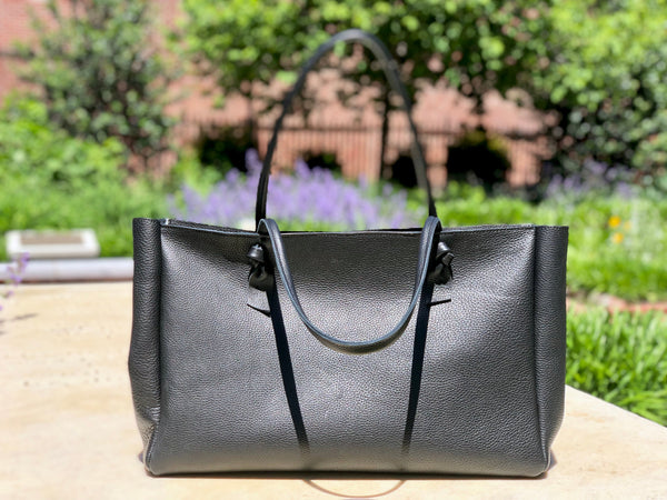 "Black leather tote bag 22""x 12"", Work computer bag"