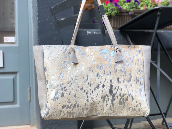 "Silver cowhide leather tote bag 22""x 14"" Large work and travel computer bag"