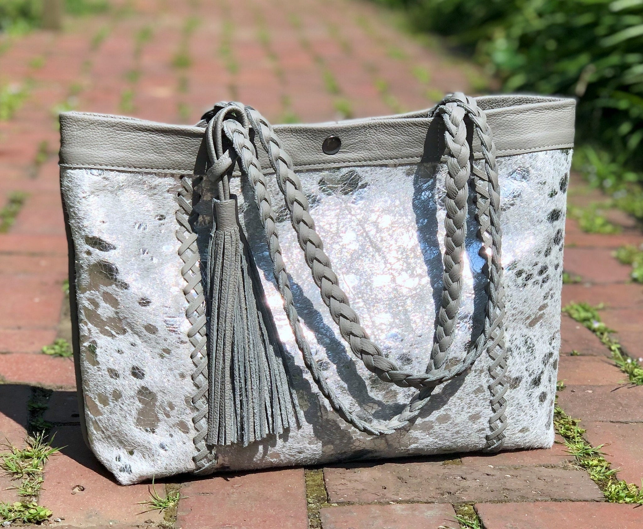 Silver cowhide leather tote, Boho bag, Large work and travel computer bag