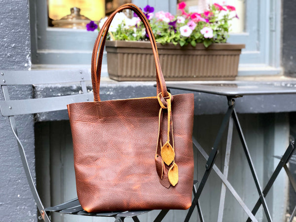 Small Brown Leather Tote, Work and travel leather bag with tassels
