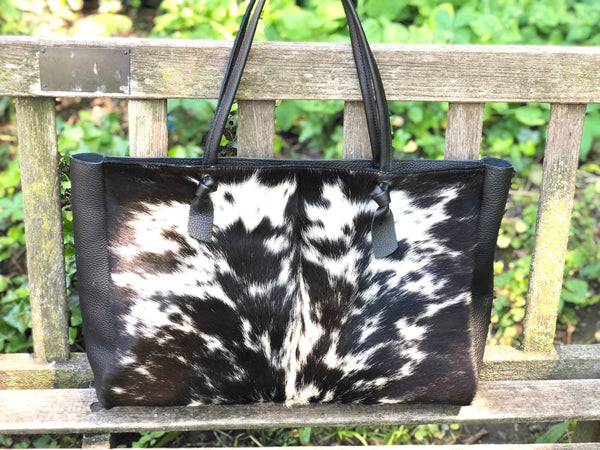"Black cowhide leather tote bag 22""x 12"""