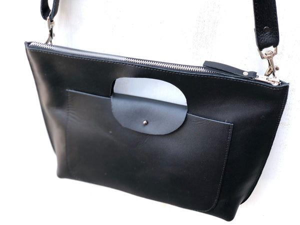 Black leather clutch, Cutout handles small bag, Crossbody bag