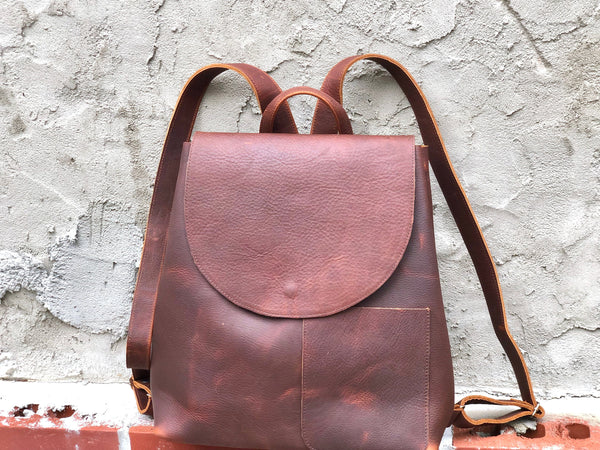 Large Brown Leather Backpack Rucksack, School Work Computer Backpack