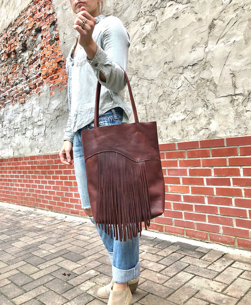 Tall Brown Leather Tote With fringe