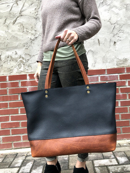 Large black and brown leather bag, Oversized work and travel computer bag