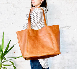 Large leather bag, Oversized work and travel computer bag