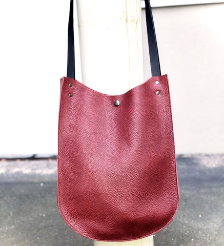 Tall Wine Red Leather Tote for Work and travel, School bag