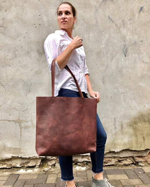Large Brown Leather Tote Bag, Oversized Leather Shopper bag with zipper