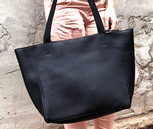 Large black leather tote bag, Front pocket work and travel computer bag