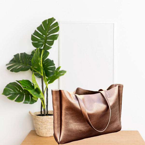 Extra large bronze metallic leather bag, Work and travel tote