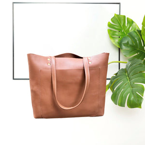 Camel brown Leather Tote front pocket, Work travel leather bag, Leather Computer bag