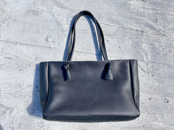 "Black cowhide leather tote 20""x 10"" Large work and travel computer bag"