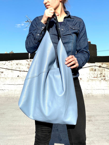 Large Hobo Bag, Baby blue leather work and travel bag, Leather handbag
