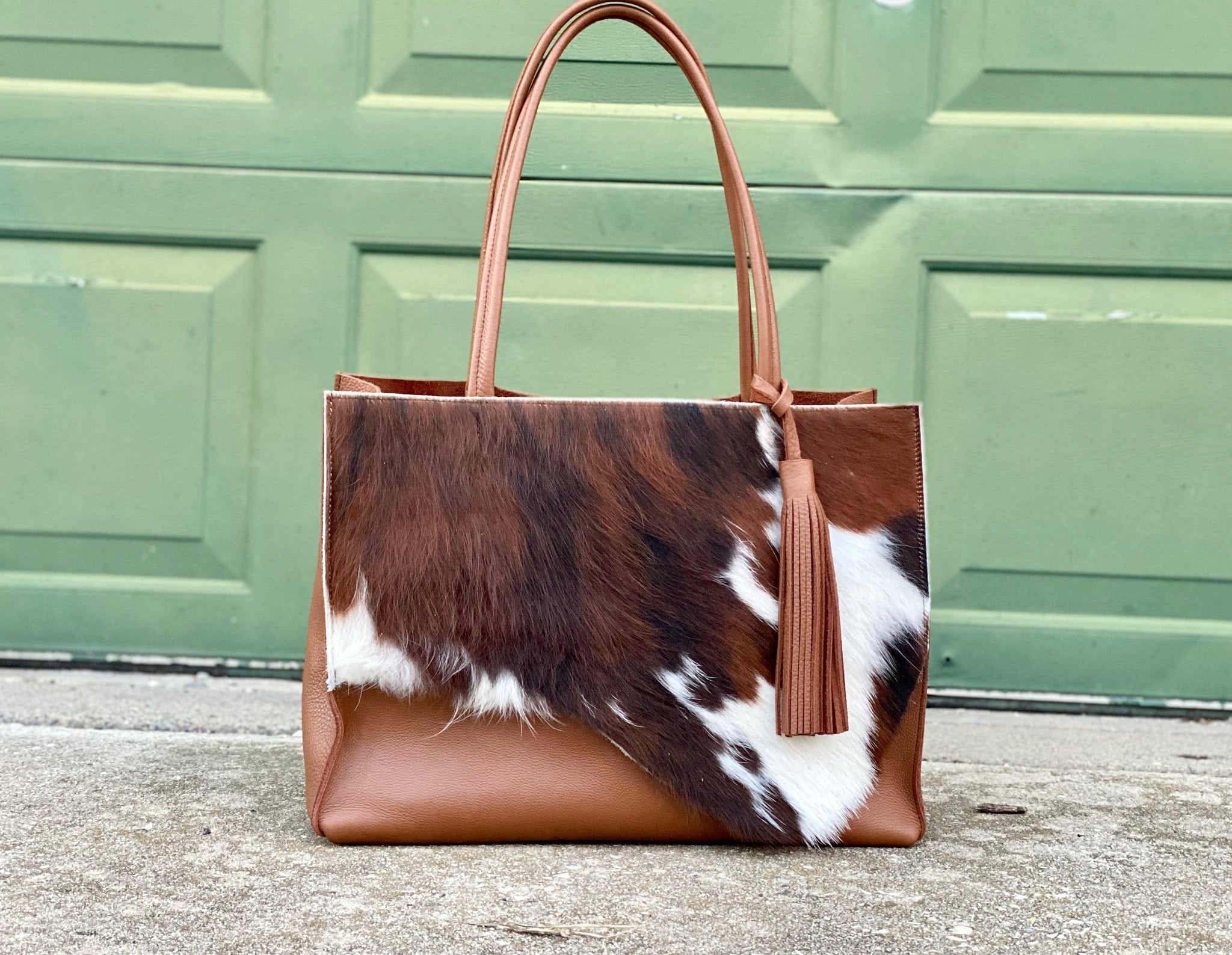 Raw edge brown cowhide leather tote, Large work and travel computer bag