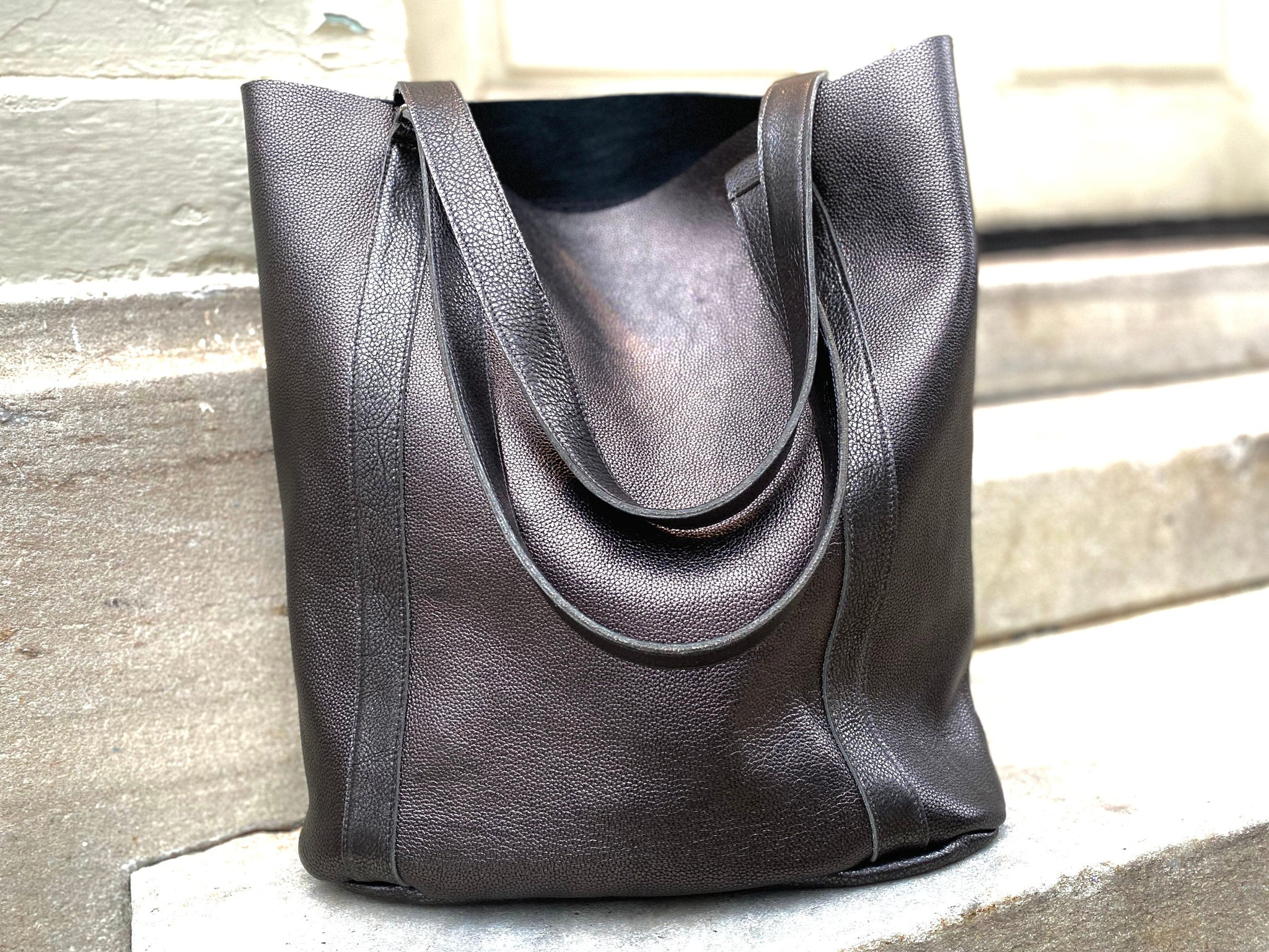 Large black leather tote bag, Tall work and travel computer bag