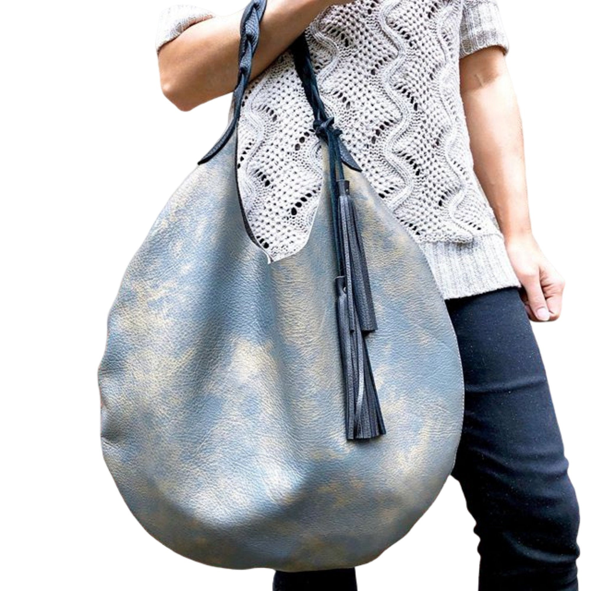 Gray metallic leather round hobo bag, Unique gold leather bag