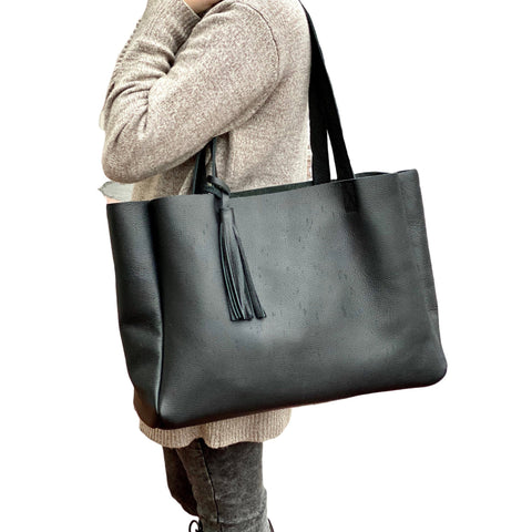Large black leather tote bag with tassel, Oversized work and travel computer bag