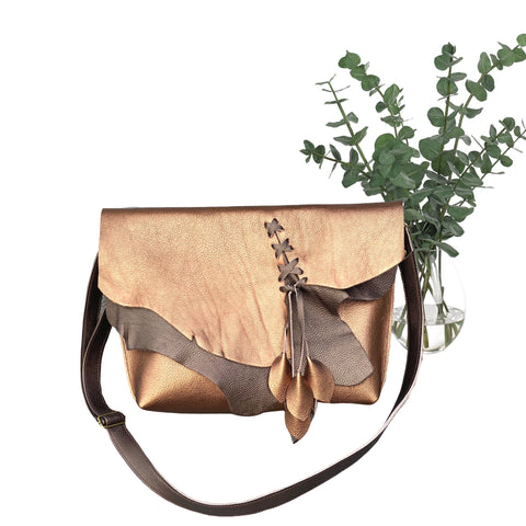 Unique bronze layered leather crossbody bag, Metallic leather bag with zipper