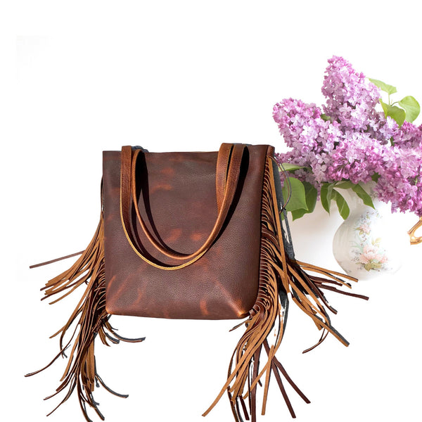 "Small Brown Leather Tote with fringe , 14""x 12""  Work and travel leather bag"