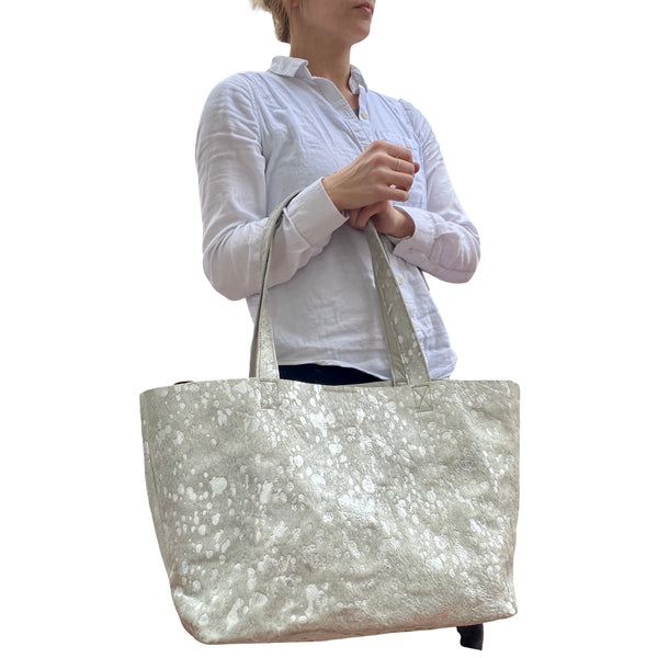 "Extra large silver metallic cowhide leather bag 23""x 13"", Oversized work and travel computer bag"