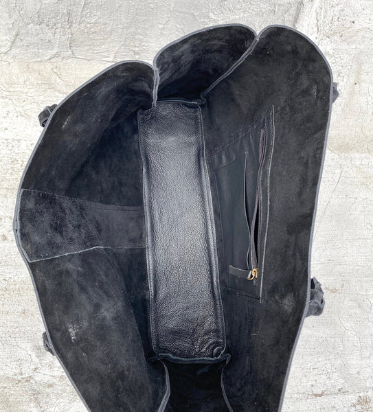 Black oversized boho chic leather bag