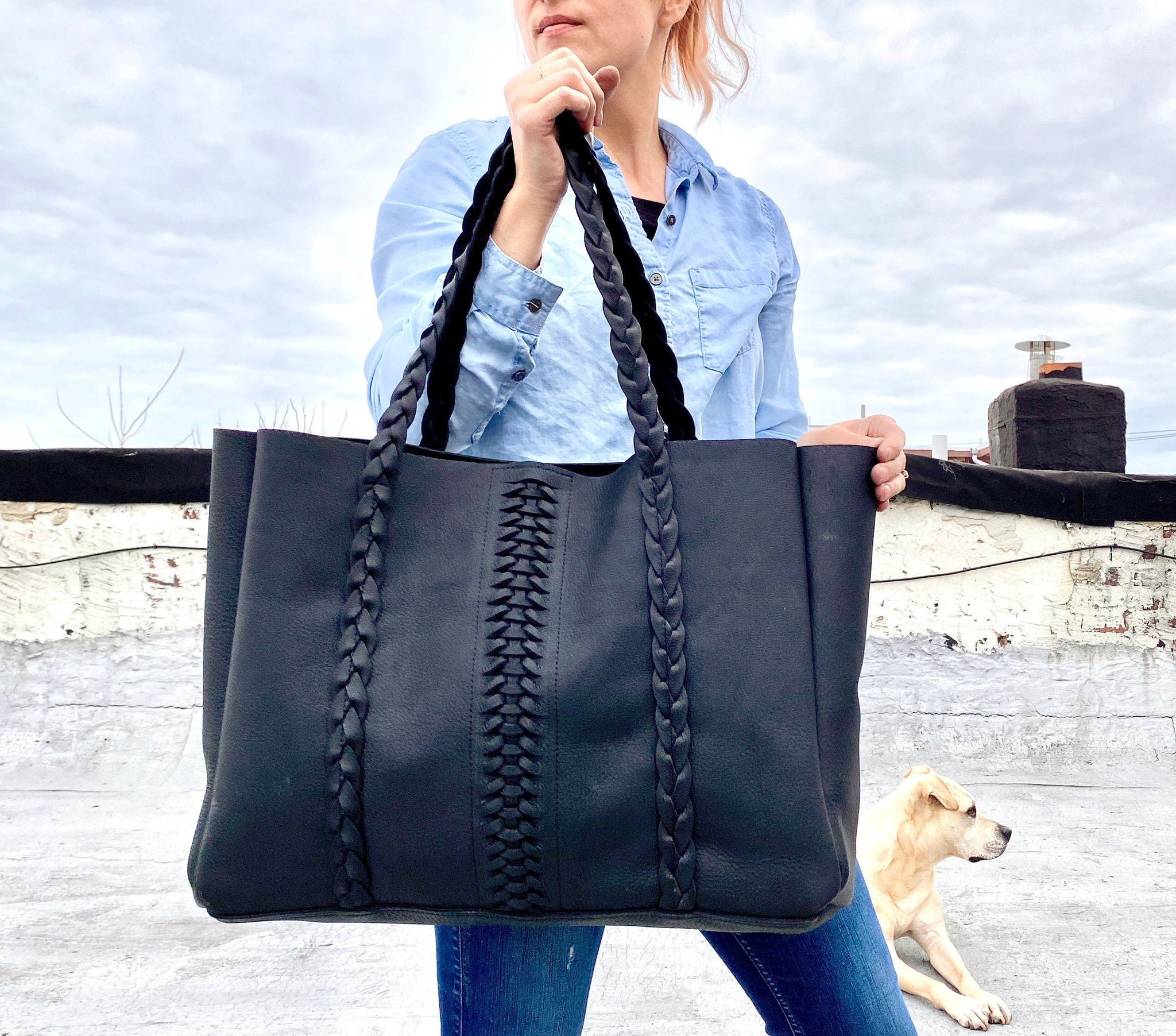 Oversized boho chic black leather tote with braids, Sturdy Work and travel leather bag