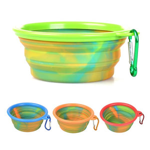 Pet Dog Camouflage Silicone Folding Bowls Portable